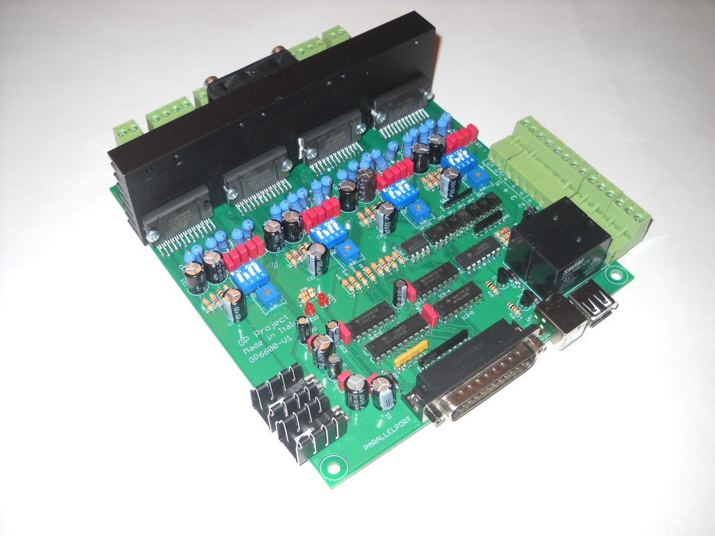 SCHEDA ELETTRONICA 4 ASSI MADE IN ITALY per pantografi CNC,motori passo-passo 4A-4 axis controller board for CNC stepper motor